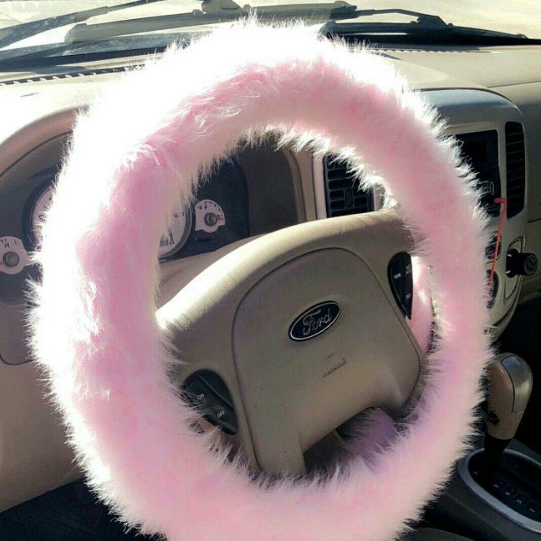 Fluffy Sheepskinl Car Wheel Cover Hot Pink Steering Wheel Cover for Girls