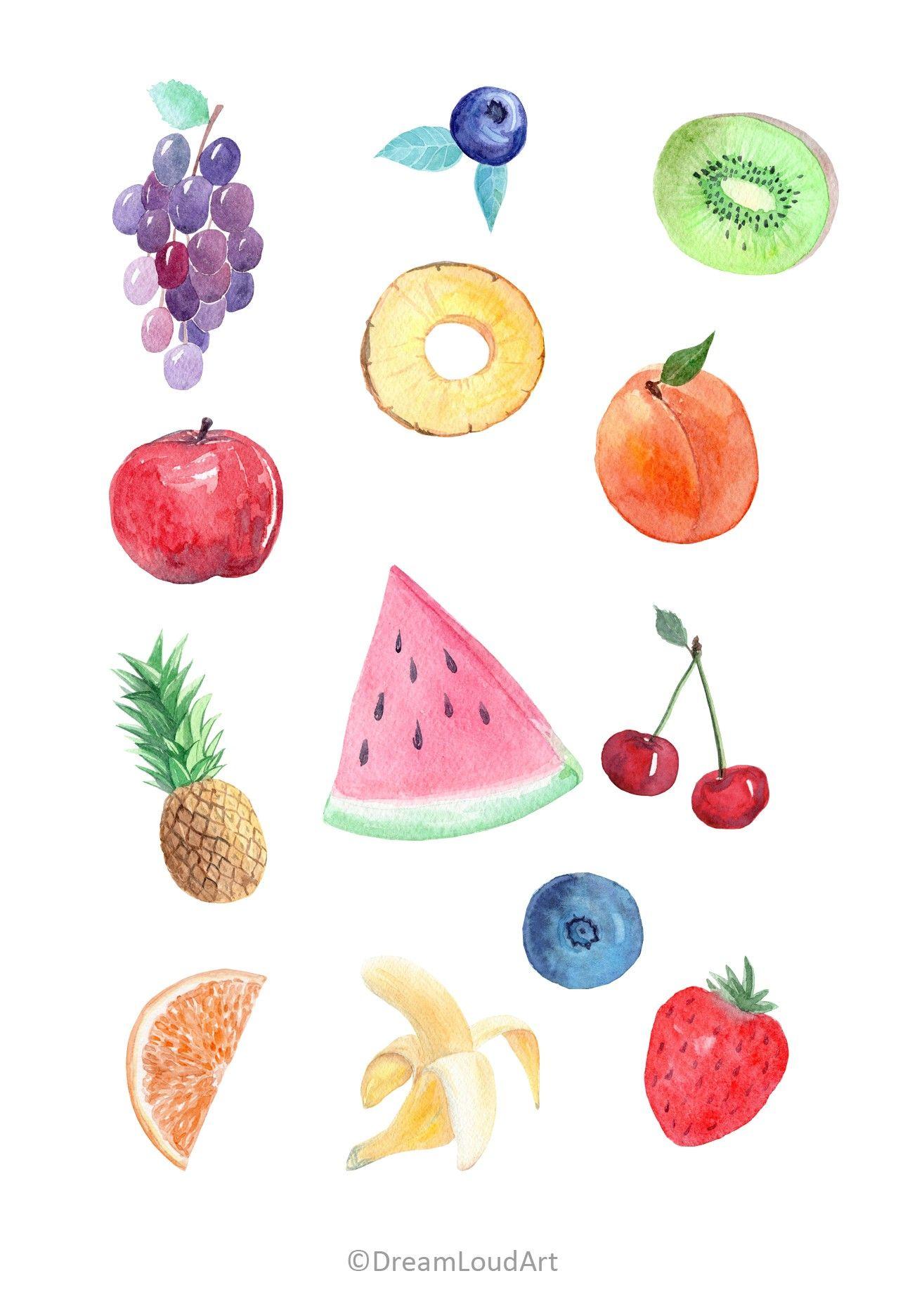 Watercolor Fruit Clipart Tropical Fruits Clip Art Etsy Watercolor Fruit Fruits Drawing Fruit Clipart