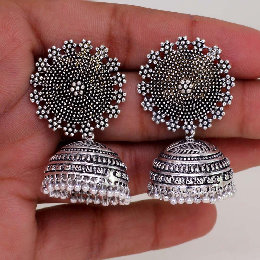 Oxidised Silver Plated Handmade Jhumka Earrings For Girls And Women