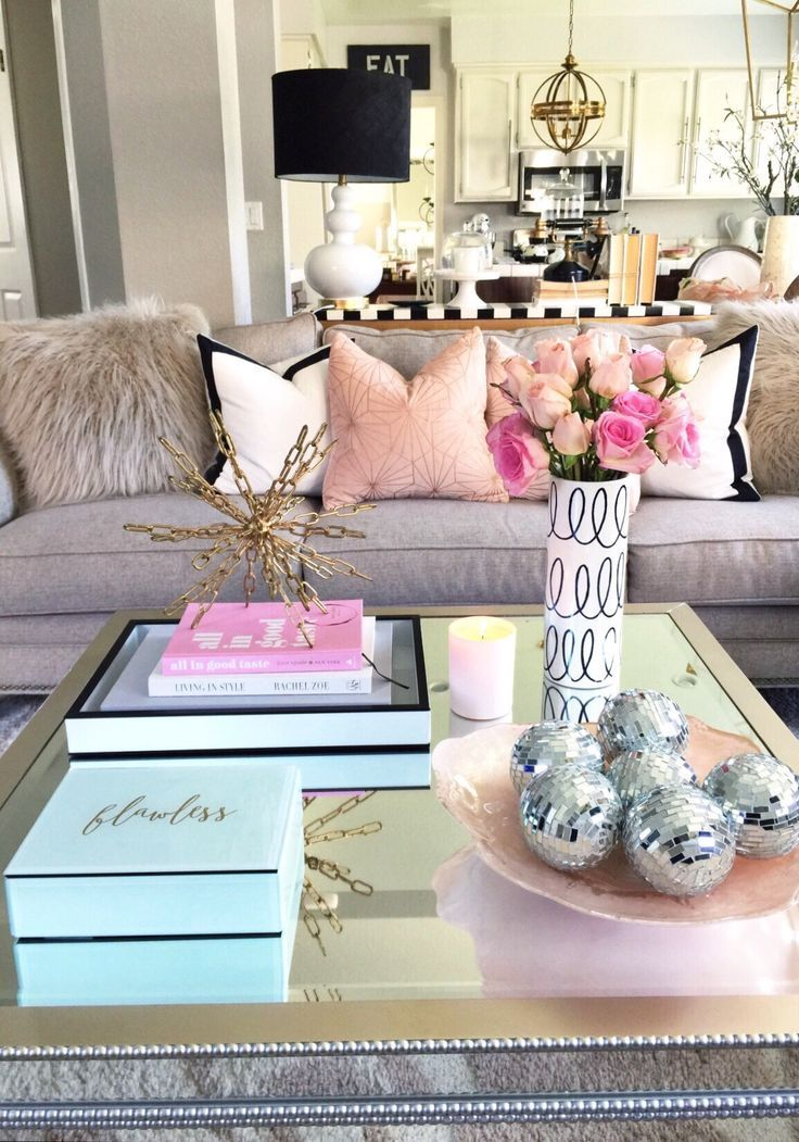 blush tones living room coffee table decor