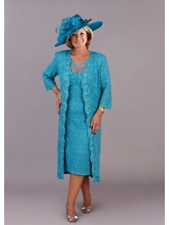 Knee Length Mother Of The Bride Dress Long Lace Jacket 3/4 Sleeve ...