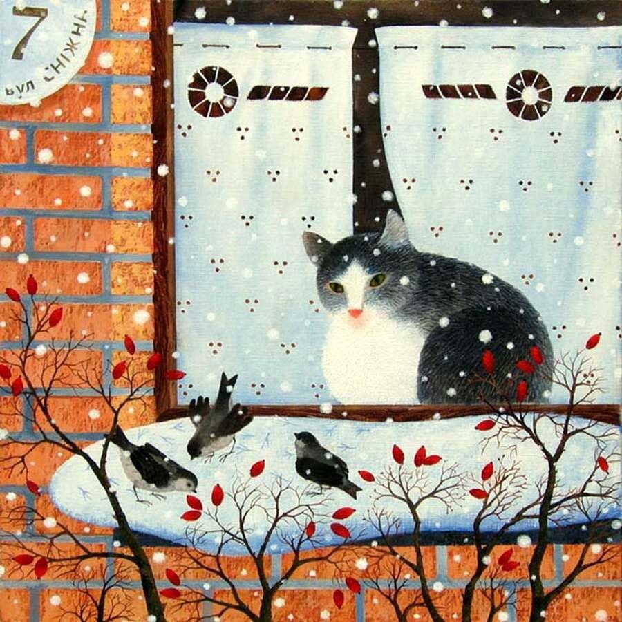 Mira el gat , calentet dins de casa, com no pot atrapar als ocells.   Mengen en llibertat els ocells  al fred exterior, sense perill.  ...