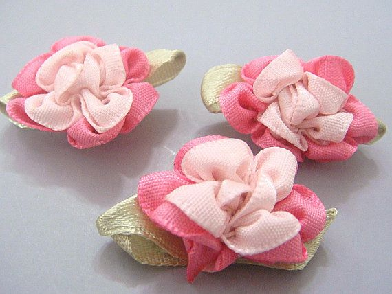 20 Fancy 2Tone Satin Ribbon Flower Appliques Sewing by twpmango, $3.95