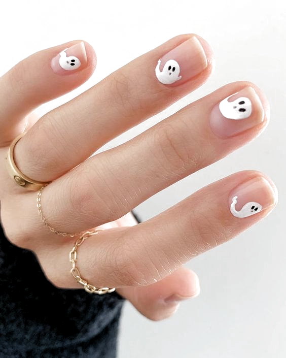 The Best Halloween Nail Art Easy Halloween Nail Designs Easy And Cute Halloween Nails Simple Ghost Nails Ghost N In 2020 Halloween Nails Easy Minimalist Nails Nails