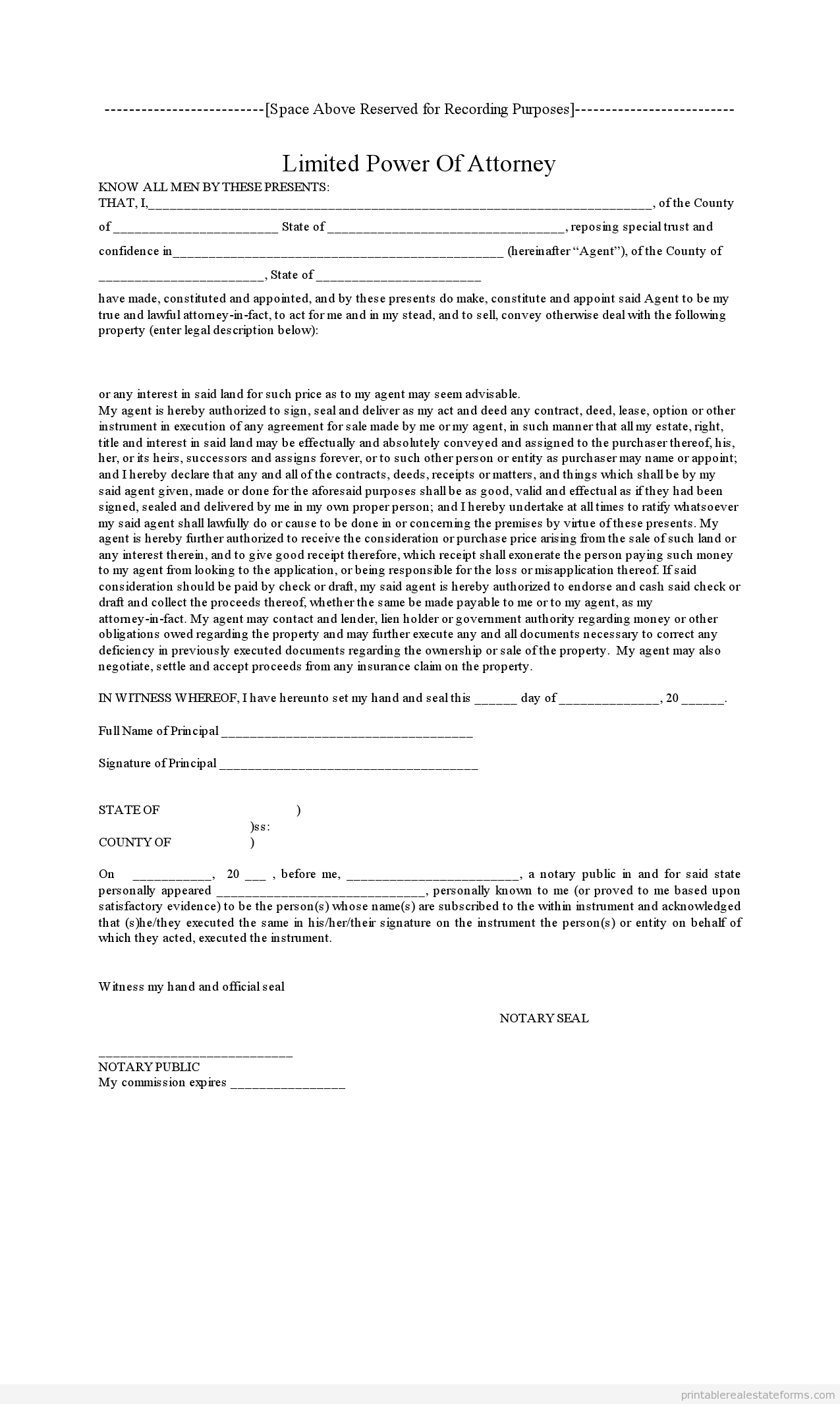 Sample Printable Power Of Atty Form  Printable Real Estate Forms
