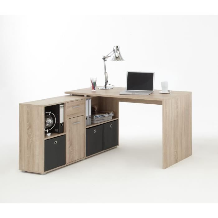 Zito bureau angle reversible classique ch ne l 136 cm bureaux et angles - Bureau classique ...