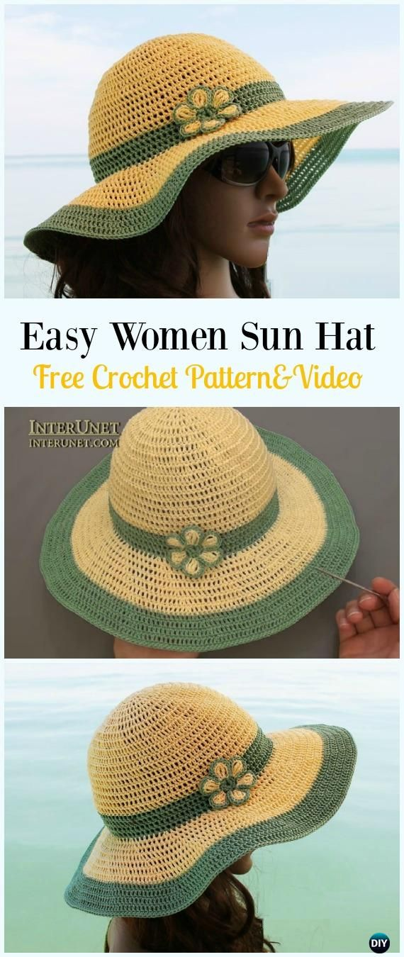 Crochet Wide Brim Summer Sun Hat Free Pattern   Video - Crochet Women Sun  Hat Free 15a214a21a8