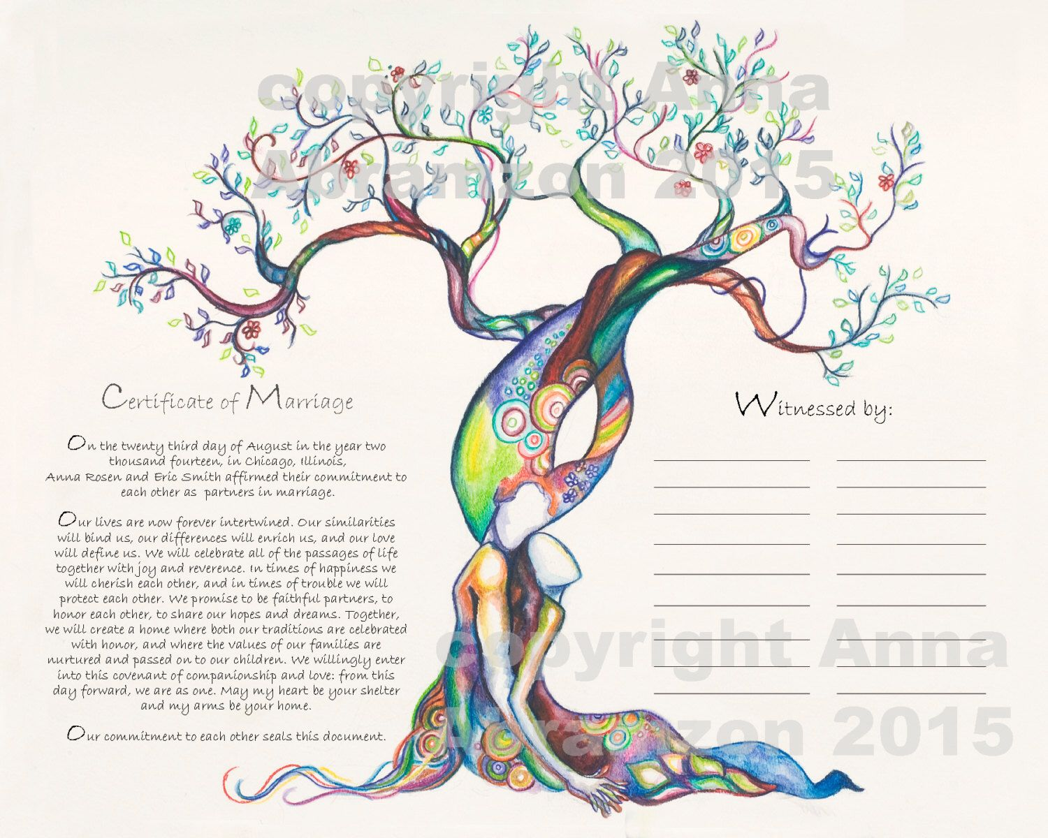 Love tree marriage certificate quaker certificate wedding vows love tree marriage certificate quaker certificate wedding vows tree of life by aastudio on etsy https 1betcityfo Gallery