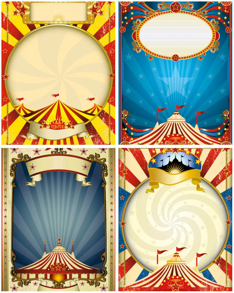 Free Printable Clip Art Set Of Vector Circus Frame Posters Olorful With Stars Stripes