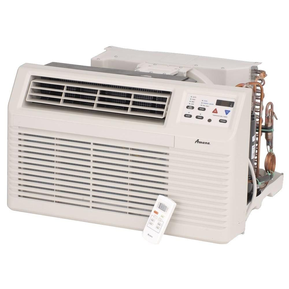 Amana 12 000 Btu 230 Volt 208 Volt Through The Wall Air Conditioner With 3 5 Kw Electric Heat And Remote Pbe123g35cc Air Conditioner With Heater Heat Pump Window Air Conditioner