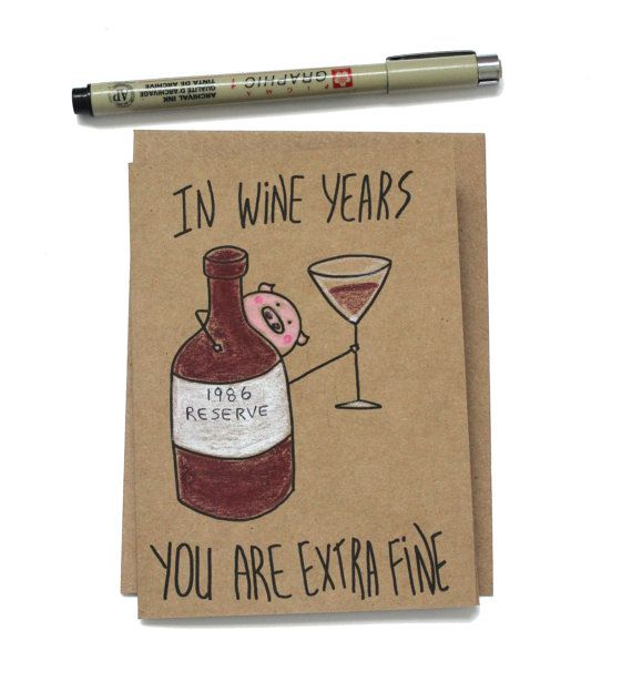 Funny Vine Photo Birthday Cards: Funny 30th Wine Birthday Card/ Customizable 30th Birthday