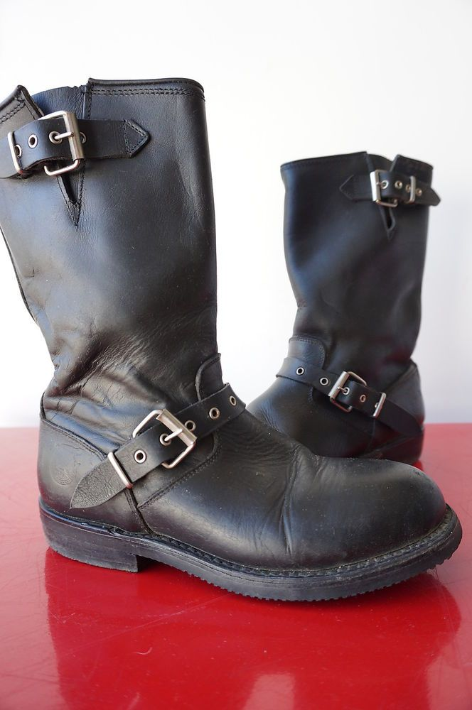 Boots Bottines Motard BIKER T 37 Cuir Noir Leather Vintage VTG 80 MOTO