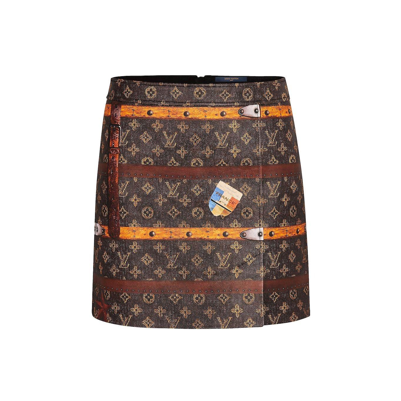 Louis Vuitton Trunk print leather mini skirt (4,250