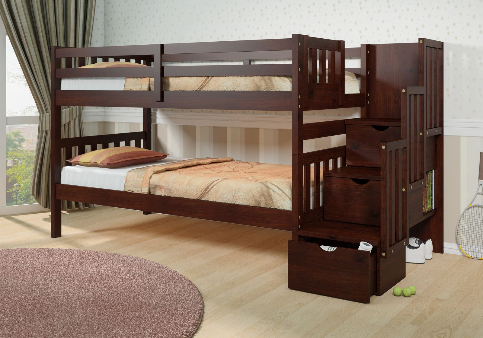 Solid Wood Espresso Staircase Bunk Bed With Extra Storage Dream Rooms Furniture Kids Bunk Beds Bunk Beds Bunk Beds With Stairs