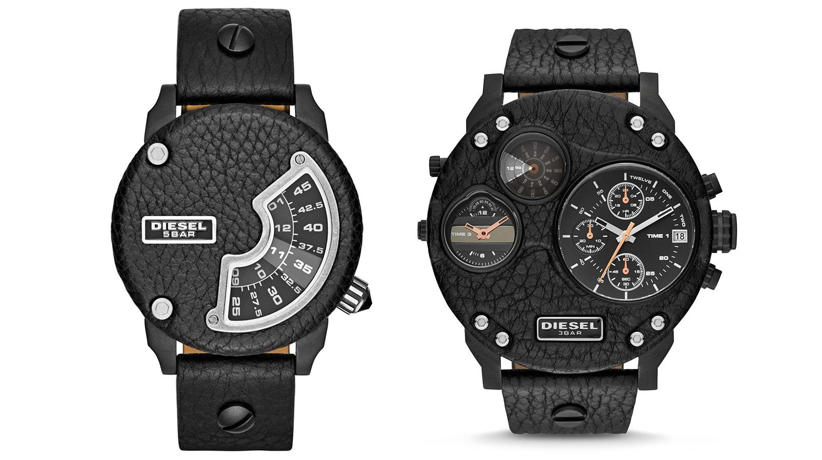 Diesel's limited-edition Biker series watches have had their trimmed their faces with black leather, and fitted them with matching straps. The Mini Daddy offers a cool jump hour dial, while the Mr. Daddy has three time dials and chronograph functionality.