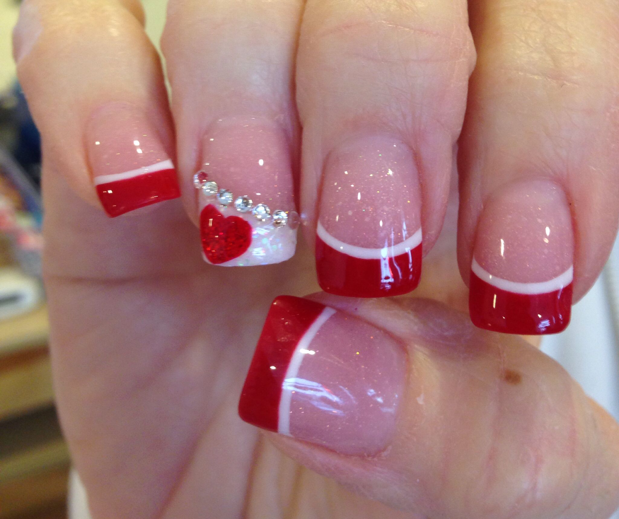 Red acrylic with white high light and a touch oh heart for love valentines day is coming up give your nails some love red acrylic with white high light red heart and nail rhinestones prinsesfo Images
