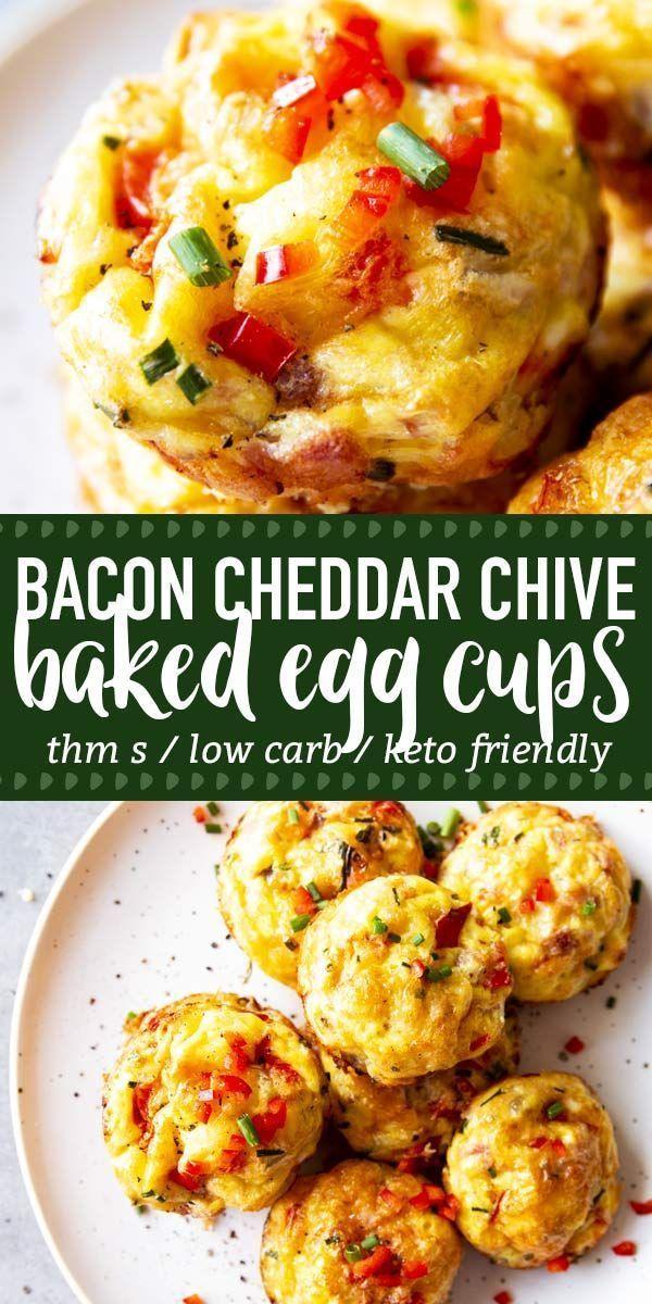 Bacon Cheddar Chive Egg Muffins sind ein einfaches und leckeres THM-Frühstück, das Sie #eggmuffins
