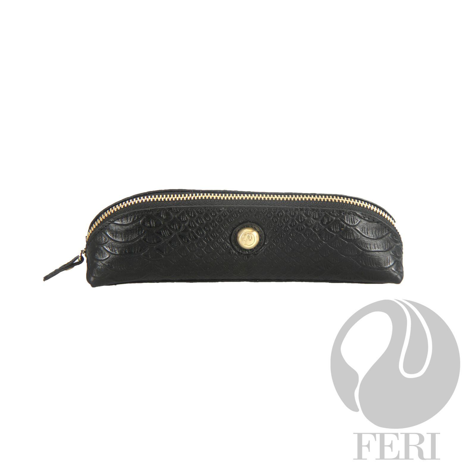 - High grade leather - Snake skin pattern - FERI custom lining - Zipper closure  - FERI Deva makes a great accessory bag