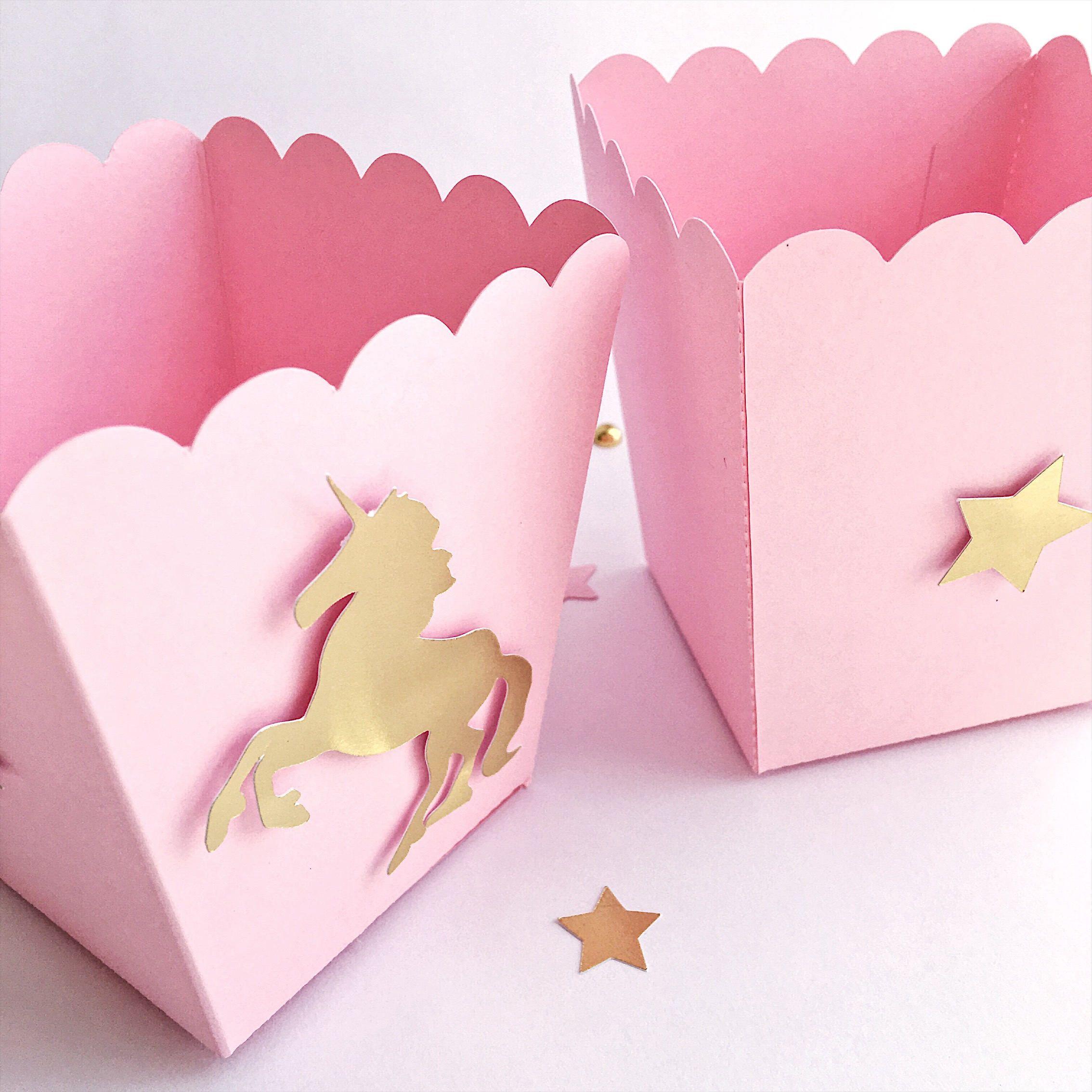 Unicorn Popcorn Candy Boxes Pink Gold Unicorn 1 st Little Girl ...