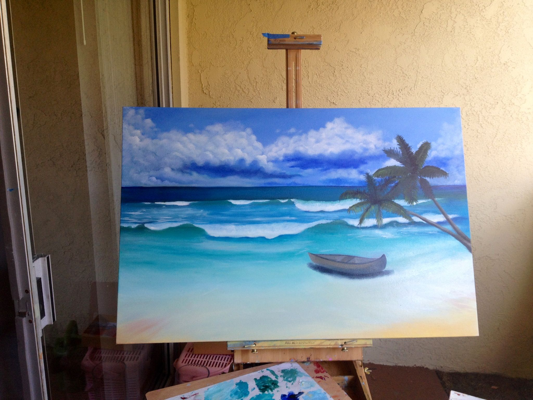 Beach#boat#painting i ended up erasing but it lives on in picture