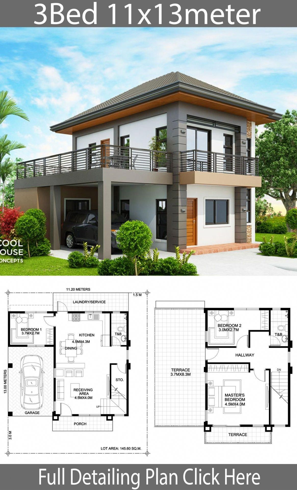 Home Design Plan 11x13m With 3 Bedrooms Home Design With Plansearch Modernhomeinteriors Modern House Design Model House Plan Architectural House Plans