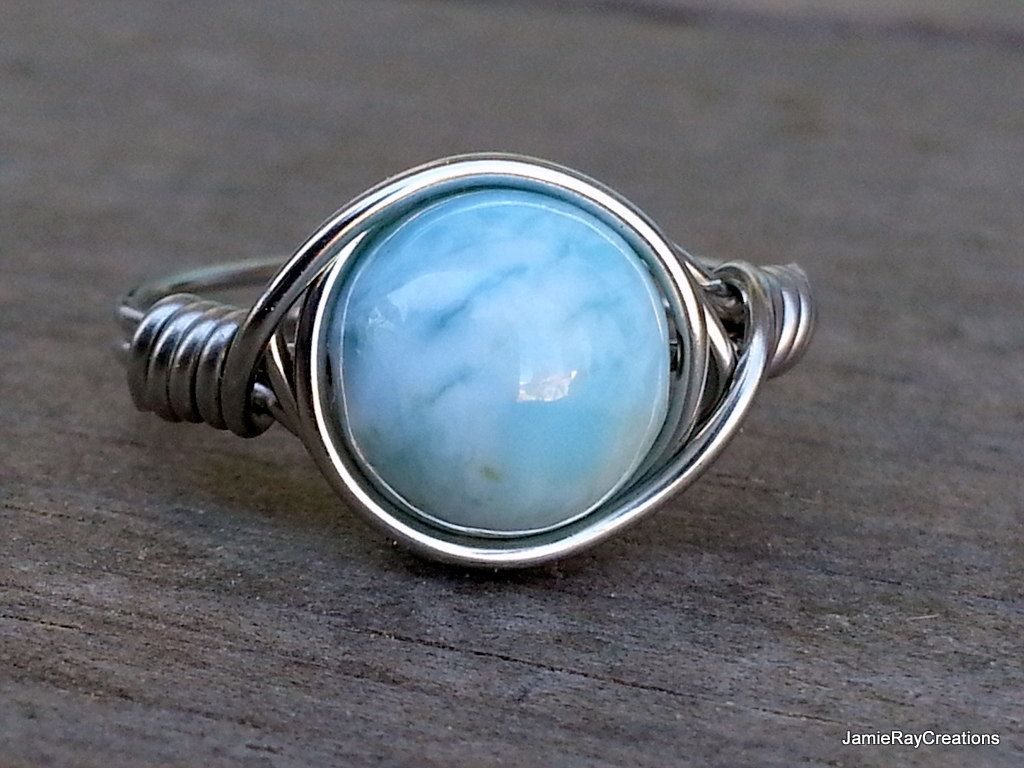 Larimar Ring, Silver Wire Wrap Ring, Natural Light Blue Larimar Gemstone  Ring, Boho Hippie Ring, Tropical Blue Stone Wrap Ring Gift For Her By ...
