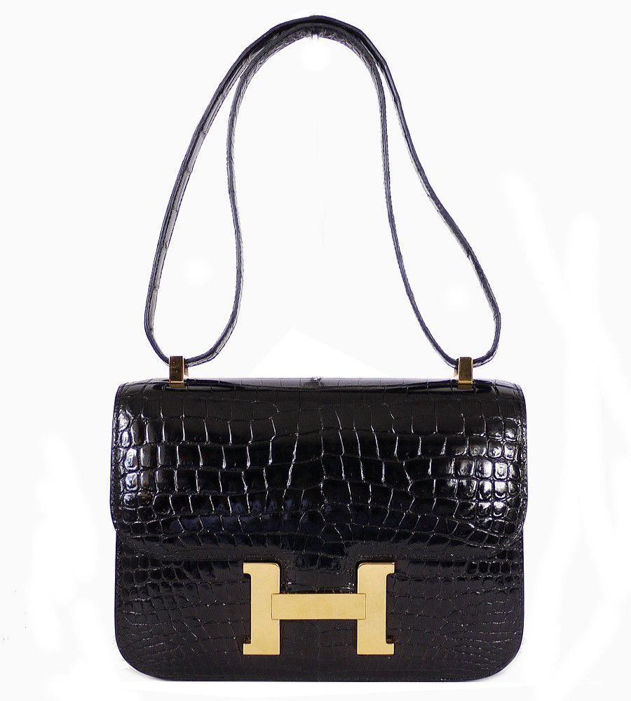 ba4fbe26897 Hermes Black Crocodile Porosus Constance 23 Flap Bag