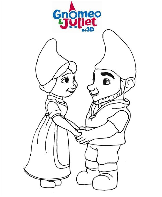 Lovers Gnomeo Juliet holding hands coloring page Coloring pages
