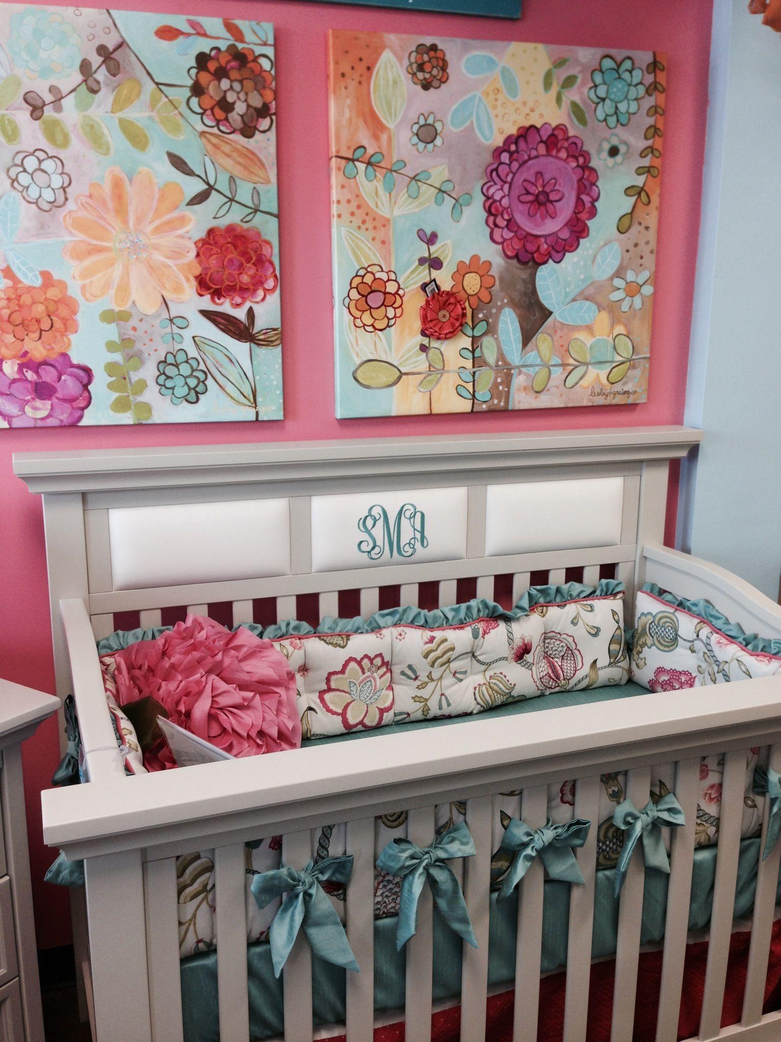Arabella Floral Baby Crib Bumper Set With Aqua Ruffles And Ties On The  Arcadia Crib At Babyu0027s Furniture In Houston, TX