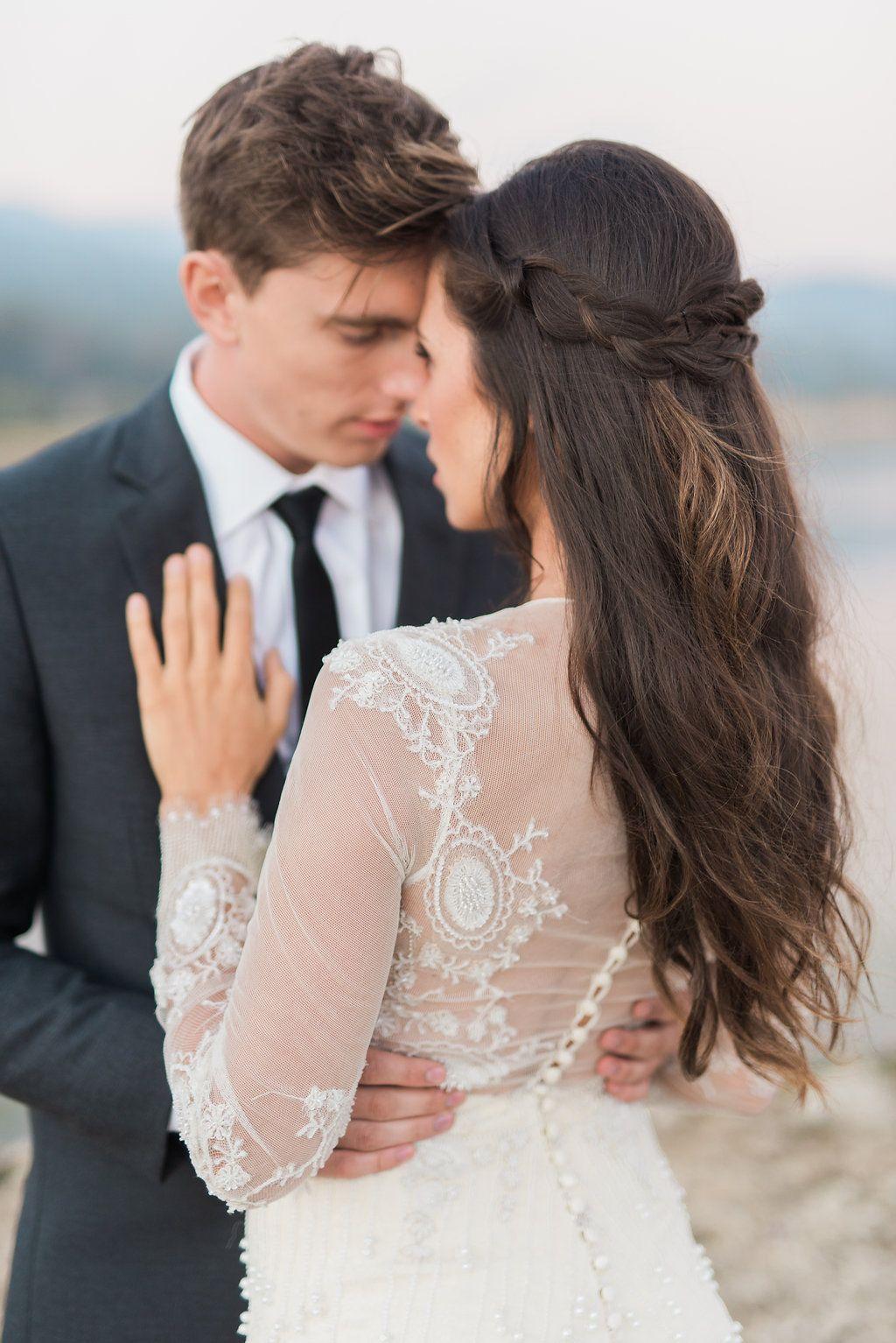 Jinza bridal beautiful lace illusionembroidery top wedding dress