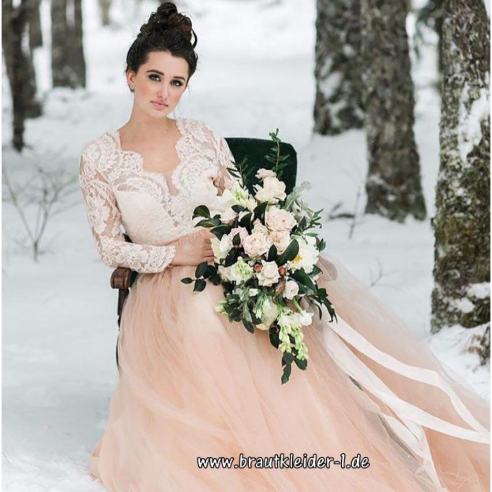 Langarm Vintage Brautkleid Gabriele in Weiß Champagne mit ...
