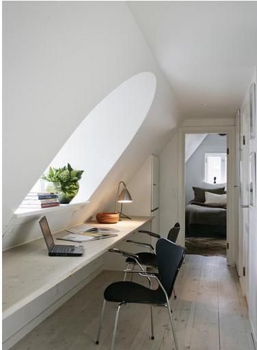 schreibtisch f r b ro unter dem dach dachschr gen pinterest b ro unter dem dach dachs und. Black Bedroom Furniture Sets. Home Design Ideas