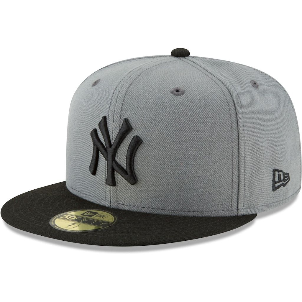 Men S New Era Gray Black New York Yankees Two Tone 59fifty Fitted Hat En 2020 Gorras Snapback Gorras De Moda Gorras