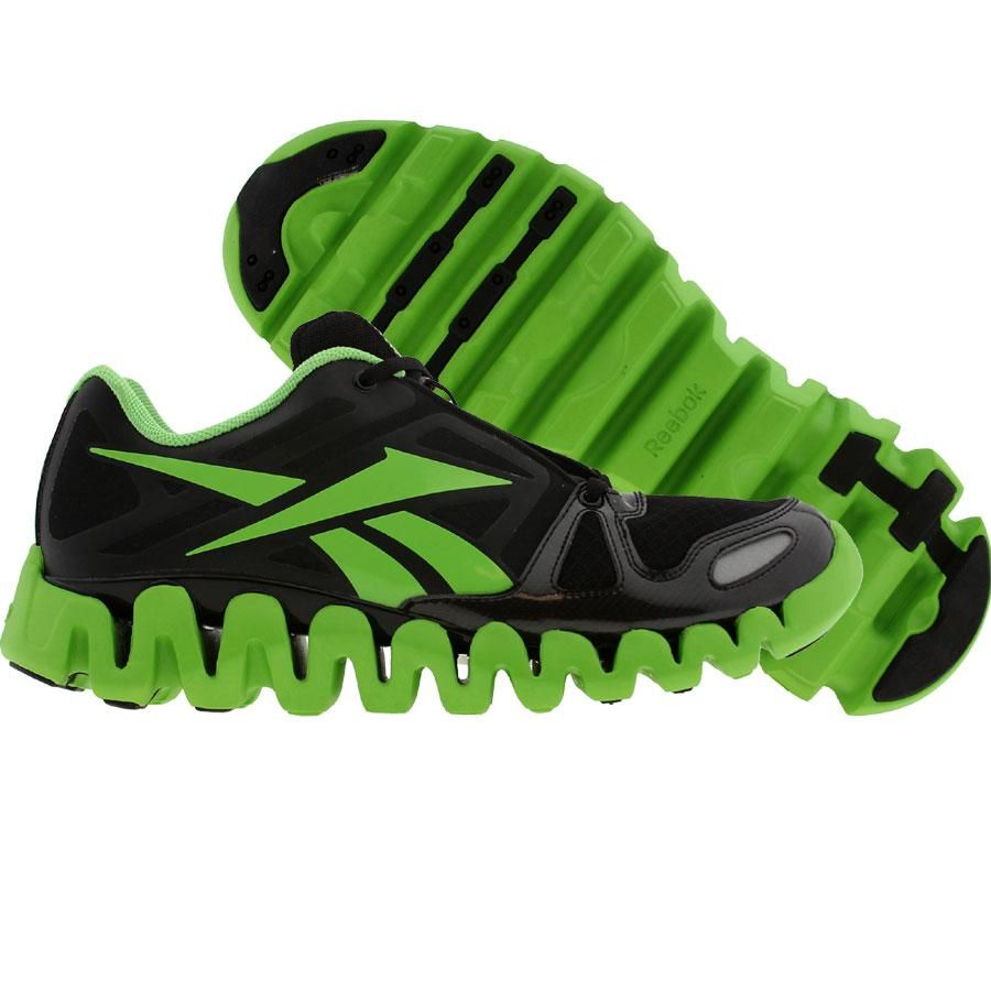 f7f94b6274bf7a green and black reebok zig tech shoes