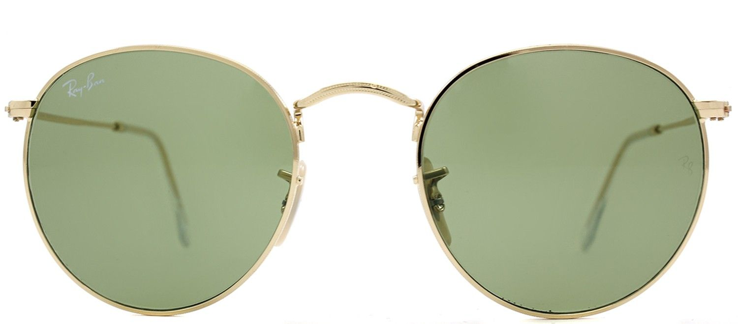 abff81b6ed Ray Ban RB3447 Round Metal 001 14 Arista Gold Special Series Sunglasses  Green Lens