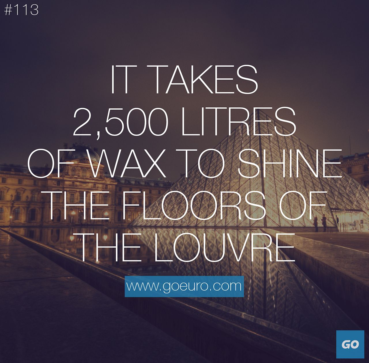 It takes 2,500 litres of wax to shine the floors of the Louvre. #traveltrivia #paris
