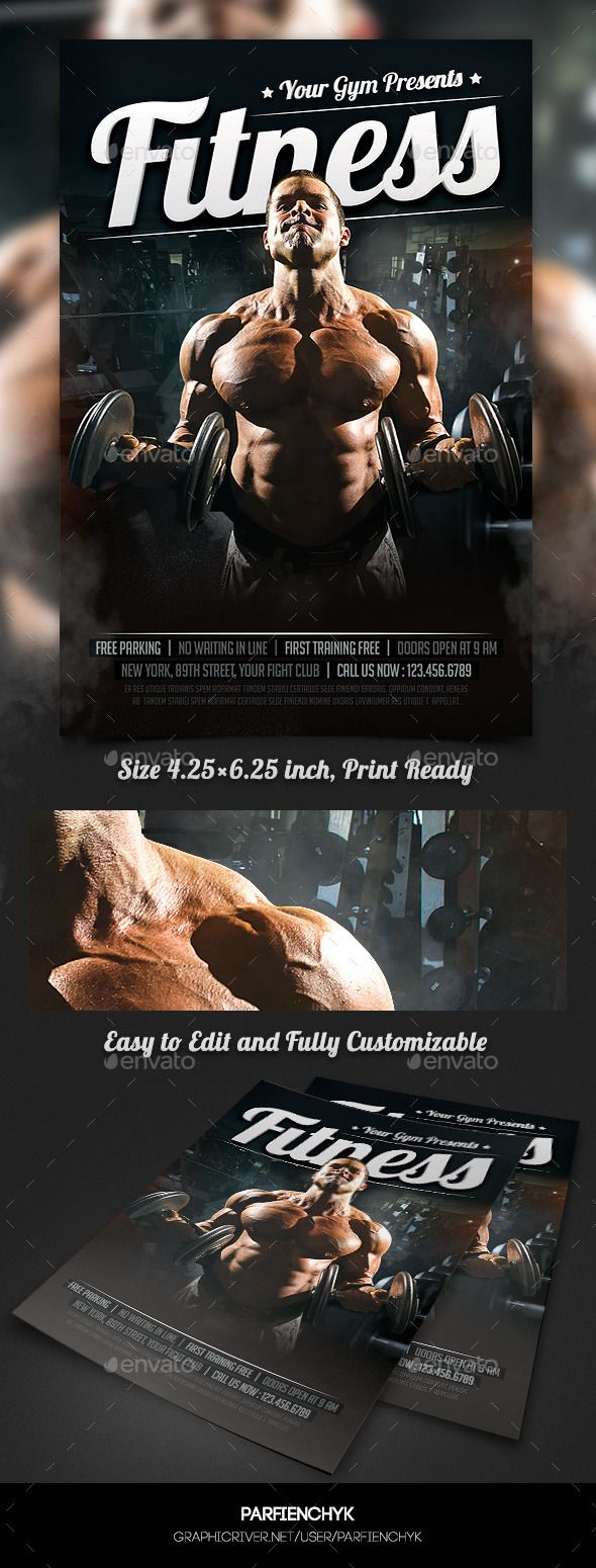 Bodybuilding Fitness Sport Flyer Template - Clubs & Parties Events ...