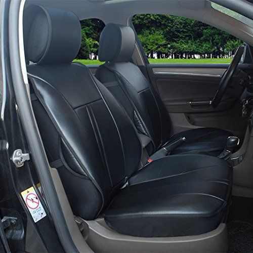 120901s Black2 Front Car Seat Cover Cushions Leather Like Vinyl