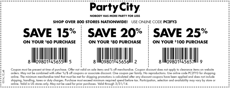 Party City 1525 off Printable Coupon Party city
