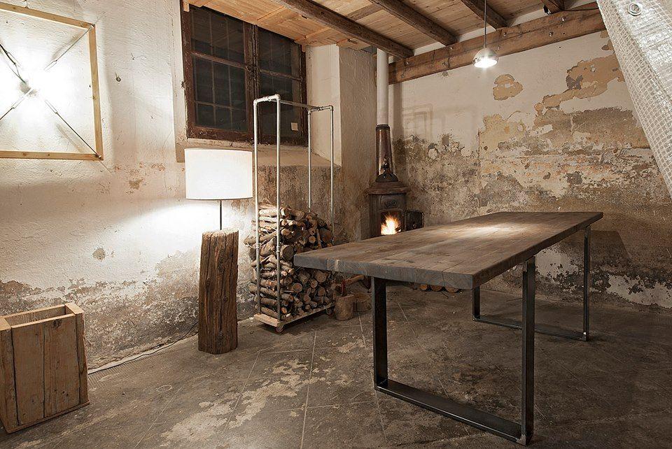Tavolino Industrial ~ Tavolo industrial con gambe a piattone in ferro realizzabile a