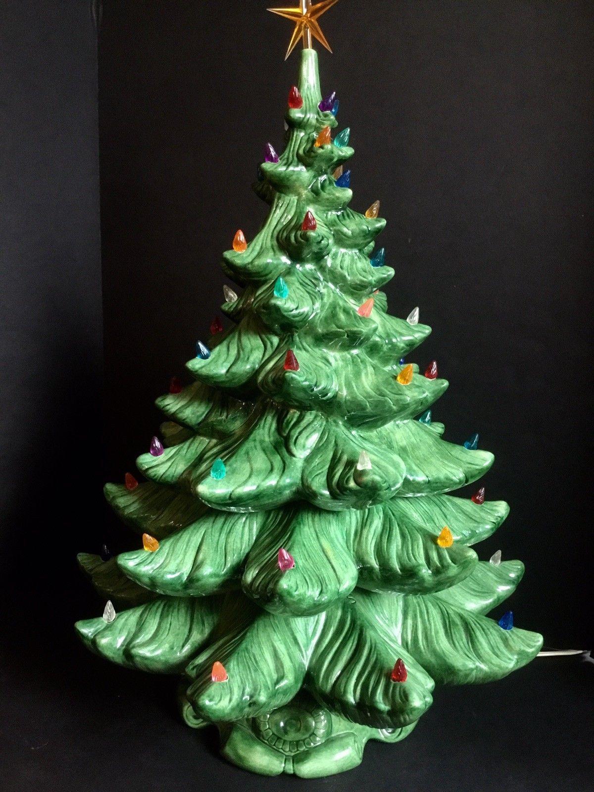 Vtg Ceramic Lighted Christmas Tree Music Box 4pc 25 Atlantic Mold Artifi Christmas Tree Music Box Ceramic Christmas Tree Lights Vintage Ceramic Christmas Tree