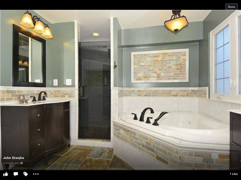 Half Tiled Bathroom Ideas Part - 45: Half Tile, Half Painted Wall Only With More Bold Colors In The Tile And Wall