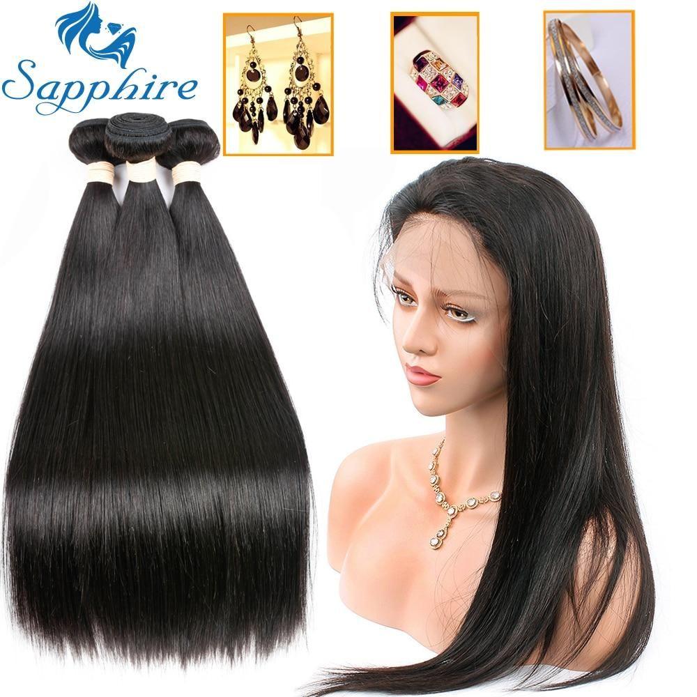 Sapphire Straight Hair Brazilian Hair Weave With Closure 3