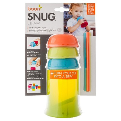 Boon Snug Straw Universal Silicone Straw Lids and Cup, Blue,