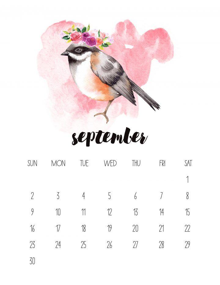 Free Printable 2018 Watercolor Animal Calendar Print
