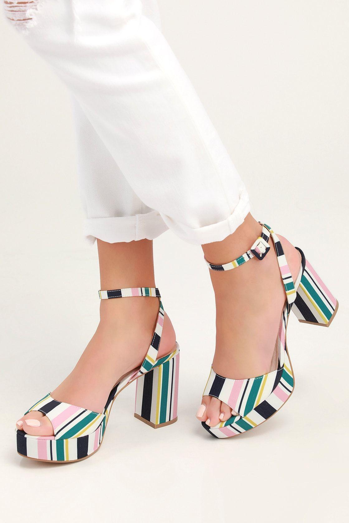 Theresa Pink And Navy Stripe Platform Heels Heels Pink Platform