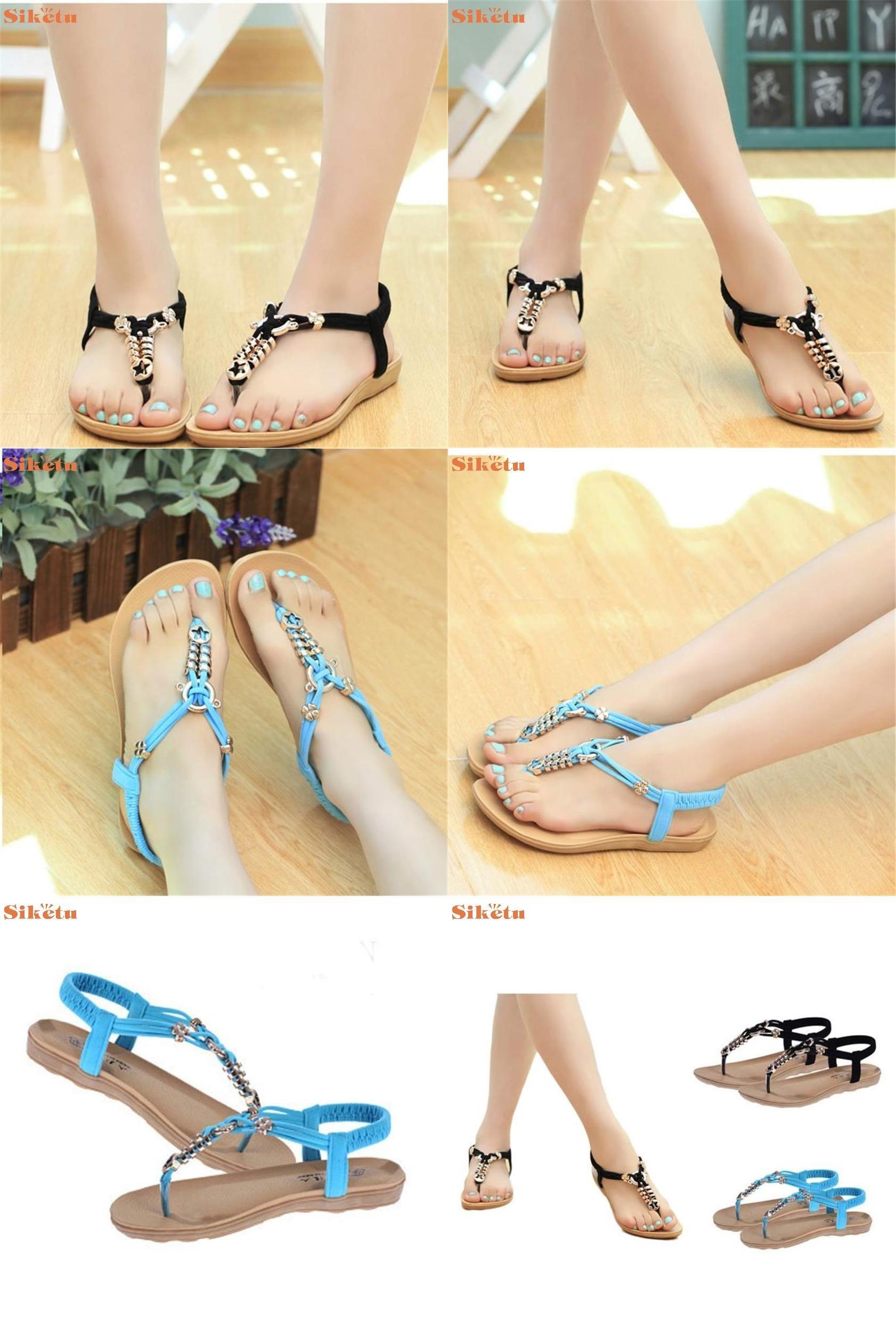 289b4d889ea3b  Visit to Buy  High quality Women s Fashion Sweet Summer Bohemia Sweet  Beaded Sandals Clip