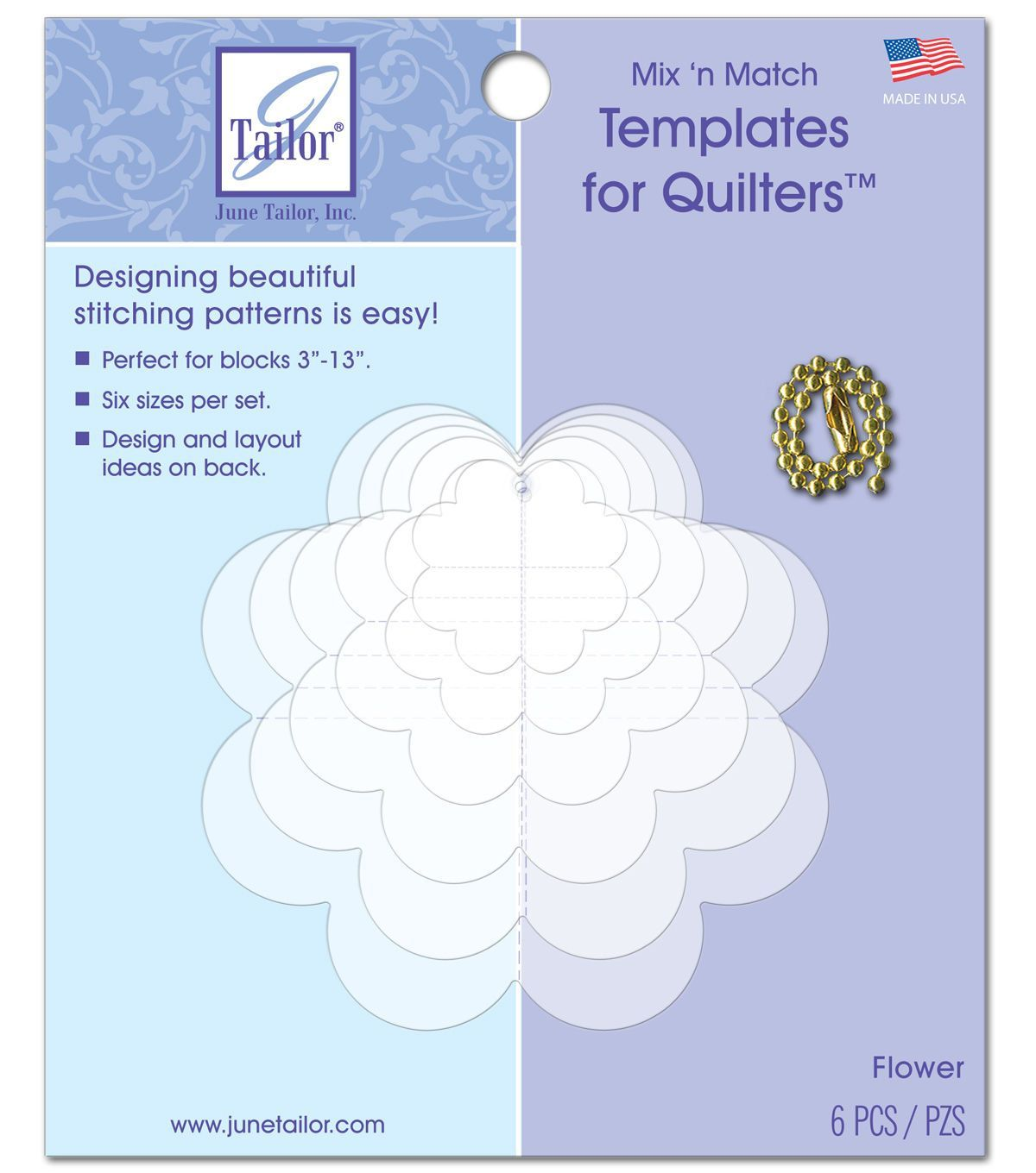 Mixn Match Templates For Quilters 6//Pkg-Flower