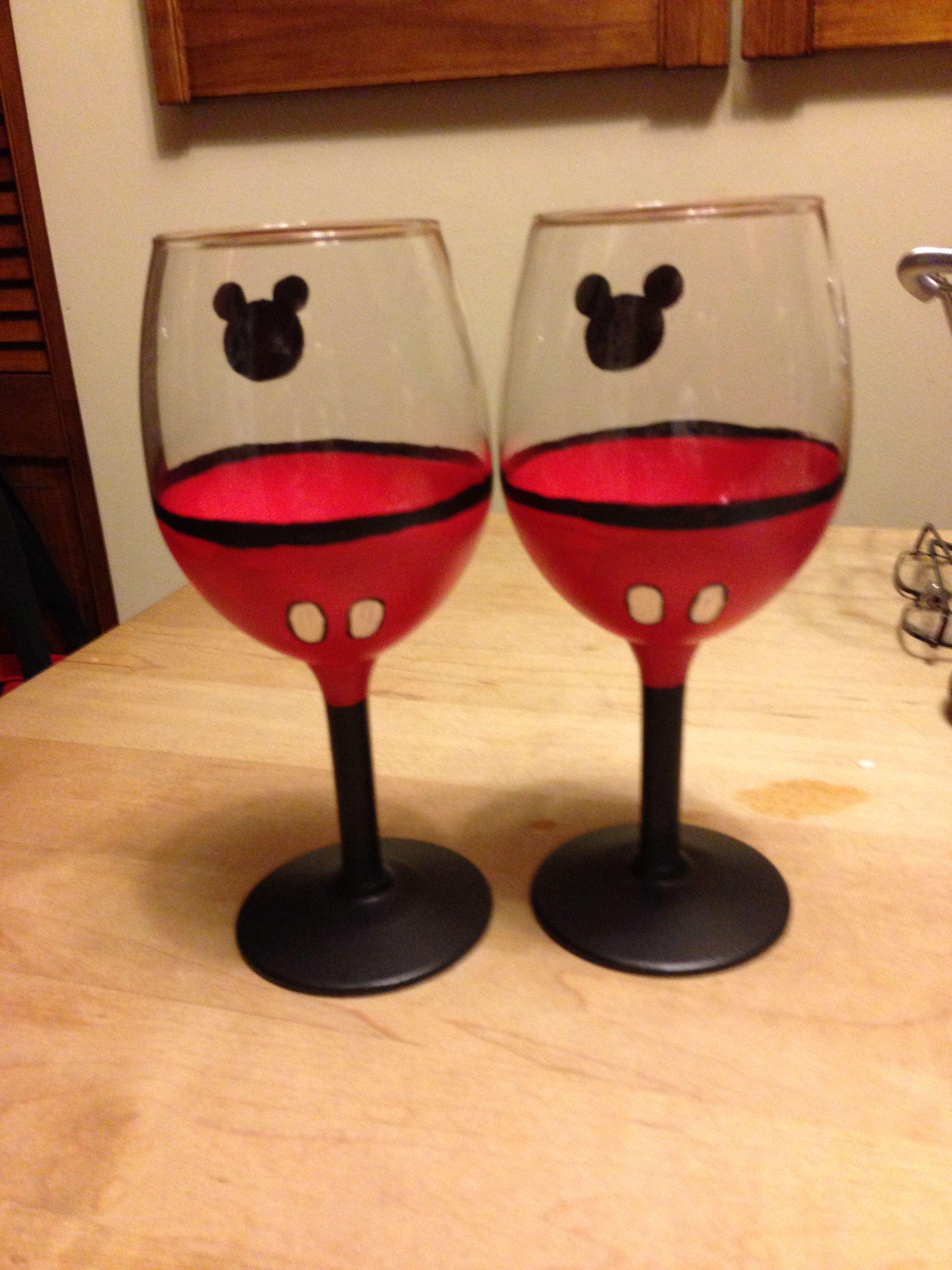 Pin By Glenna Herman On Disney Inspired Hand Painted Wine Glasses Disney Inspired