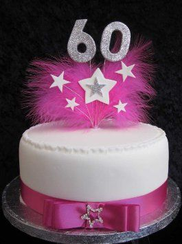 60th Birthday Cake Topper With Silver Glittered Numbers And Hot Pink Marabou Feathers Stars Amazoncouk Kitchen Home
